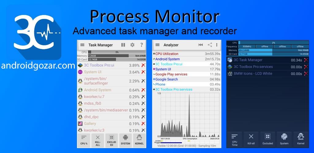 3C Process Monitor Pro 2.1 نرم افزار مدیریت وظیفه اندروید