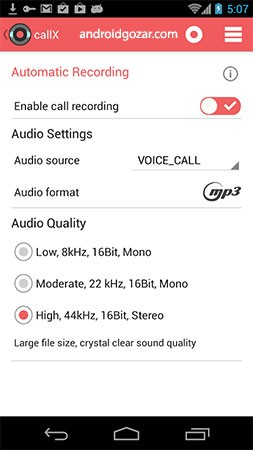 callX Automatic Call Recorder Premium 7.0 ضبط تماس اندروید
