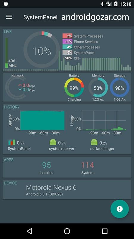SystemPanel 2 Plus 2.0.b14 دانلود نرم افزار نمایش فعالیت های اندروید