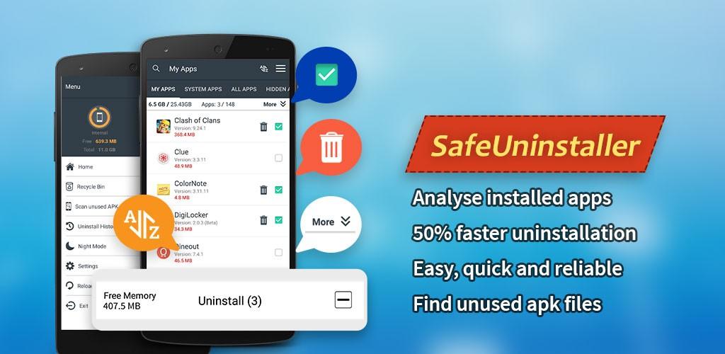 Safe Uninstaller 1.1 دانلود نرم افزار مدیریت و حذف برنامه های اندروید