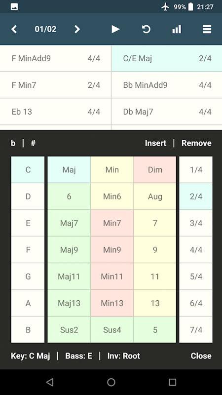Chordbot 3.07 دانلود نرم افزار ساخت توالی و ترتیب آکوردها اندروید