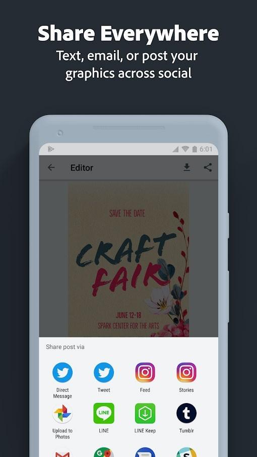 دانلود Adobe Spark Post Premium 4.8.0 طراحی گرافیک، ساخت کلاژ و پوستر اندروید