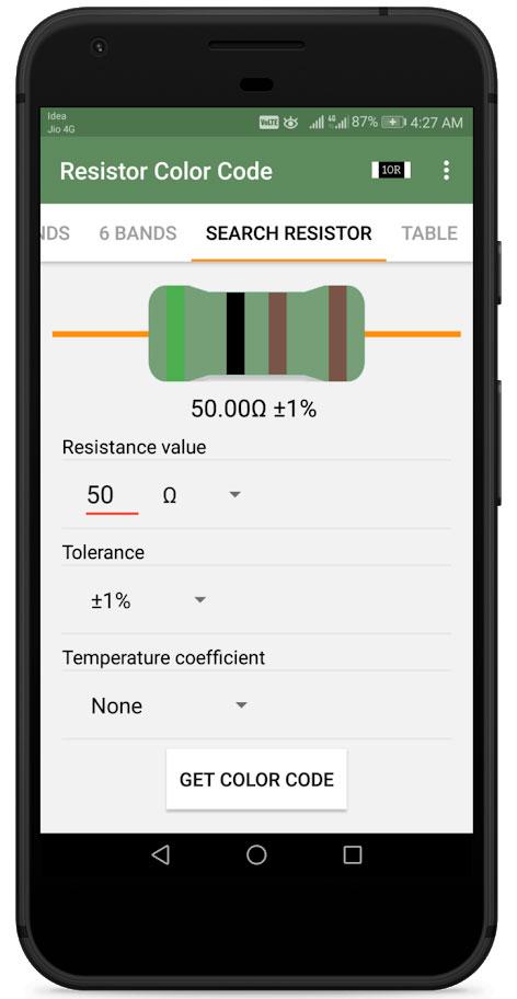 Resistor Calculator Pro 2.3 کد رنگ مقاومت ها و محاسبه کد SMD
