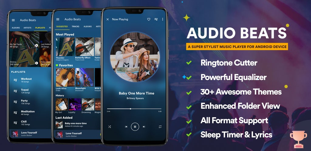دانلود Audio Beats – Music Player Premium 5.2.0 – موزیک پلیر کامل اندروید