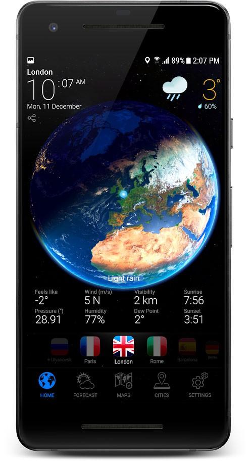 دانلود 3D Earth Pro 1.1.15 برنامه هواشناسی سه بعدی اندروید