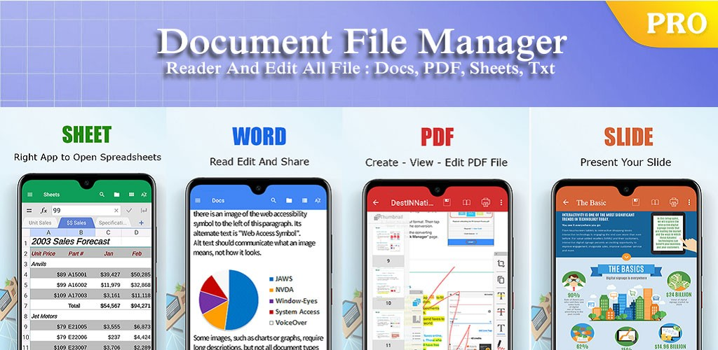 دانلود ES Office Document – Word Office، XLS، PDF Reader 4.7.20 اندروید