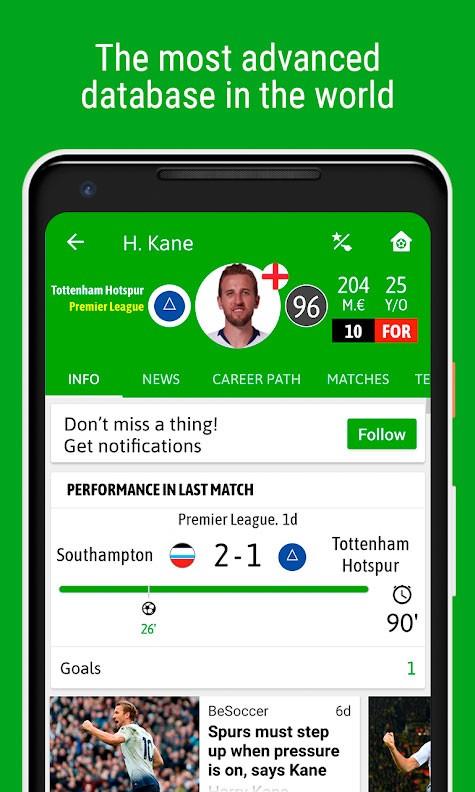 دانلود BeSoccer – Soccer Live Score Pro 5.2.1.6 برنامه نتایج زنده مسابقات فوتبال