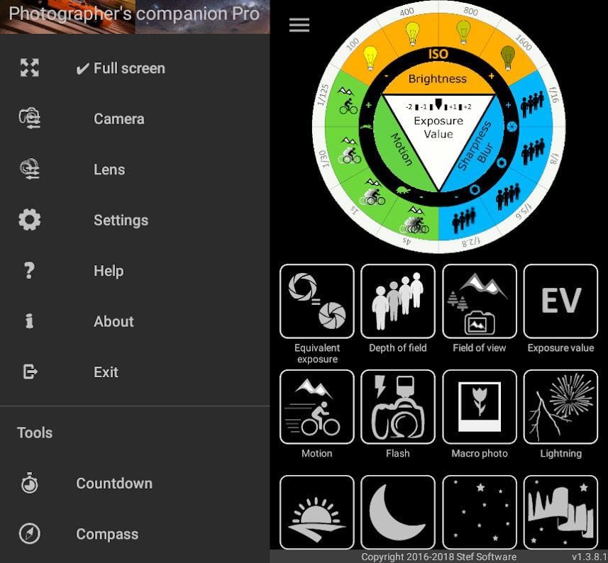 دانلود Photographer's companion Pro 1.8.0.3 برنامه راهنمای عکاسی و تنظیمات دوربین