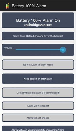 Battery 100% Alarm FULL 3.1.3 دانلود نرم افزار اطلاع از پر شدن شارژ باتری