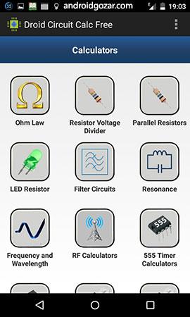Droid Circuit Calc Pro 3.4 دانلود نرم افزار محاسبات مدارهای الکترونیکی