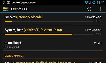 DiskInfo PRO 4.9.9 دانلود برنامه مشاهده اطلاعات دیسک و پارتیشن اندروید