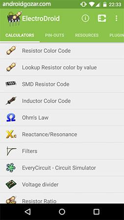 دانلود ElectroDroid Pro 4.9.1 برنامه ابزارهای الکترونیکی اندروید + پلاگین ها