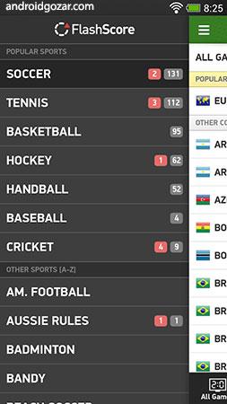 دانلود FlashScore Plus 3.10.0 برنامه نتایج زنده مسابقات ورزشی اندروید