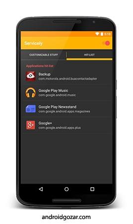 دانلود Servicely Pro 8.1.1 کنترل خدمات برنامه های نصب شده اندروید
