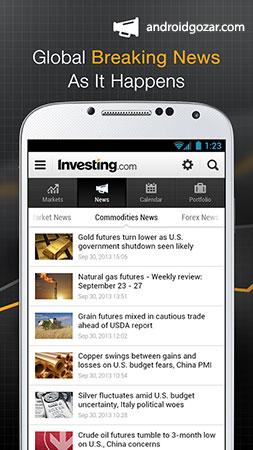 دانلود Investing.com: Stocks, Finance, Markets & News Full 6.3.1 برنامه بازارهای مالی