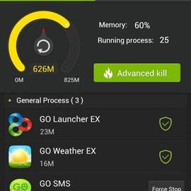 GO Cleaner & Task Manager PRO 3.91 مدیریت برنامه های در حال اجرا