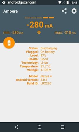 دانلود Ampere Pro 3.21 Final اندازه گیری شارژ و تخلیه باتری اندروید