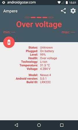 دانلود Ampere Pro 3.34 Final اندازه گیری شارژ و تخلیه باتری اندروید