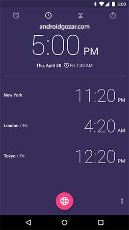 Google Clock 6.0 دانلود نرم افزار ساعت متریال دیزاین اندروید