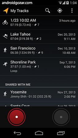 My Tracks 2.0.8 دانلود نرم افزار ضبط مسیر، سرعت، مسافت و ارتفاع