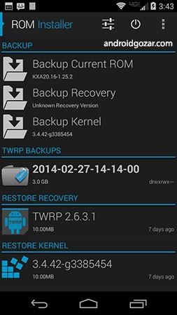 ROM Installer Gold 1.3.4.0 دانلود نرم افزار پیدا کردن و نصب رام های کاستوم