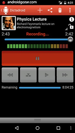 Dictadroid Voice Recorder 1.1.2 دانلود نرم افزار ضبط صدا