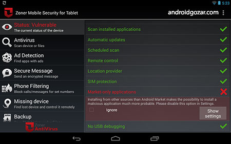Zoner Mobile Security – Tablet 1.6.3 دانلود آنتی ویروس تبلت اندروید